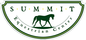 Summit Equestrian Center Logo. A silhouette of a horse with the words in an arc around it.